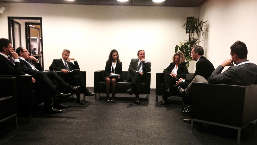 Interpretation for the former German Chancellor Gerhard Schröder and Banca Mediolanum during the World Business Forum